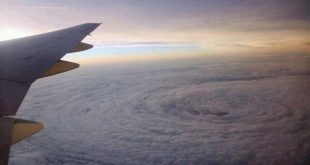 Hurricane fron airplane